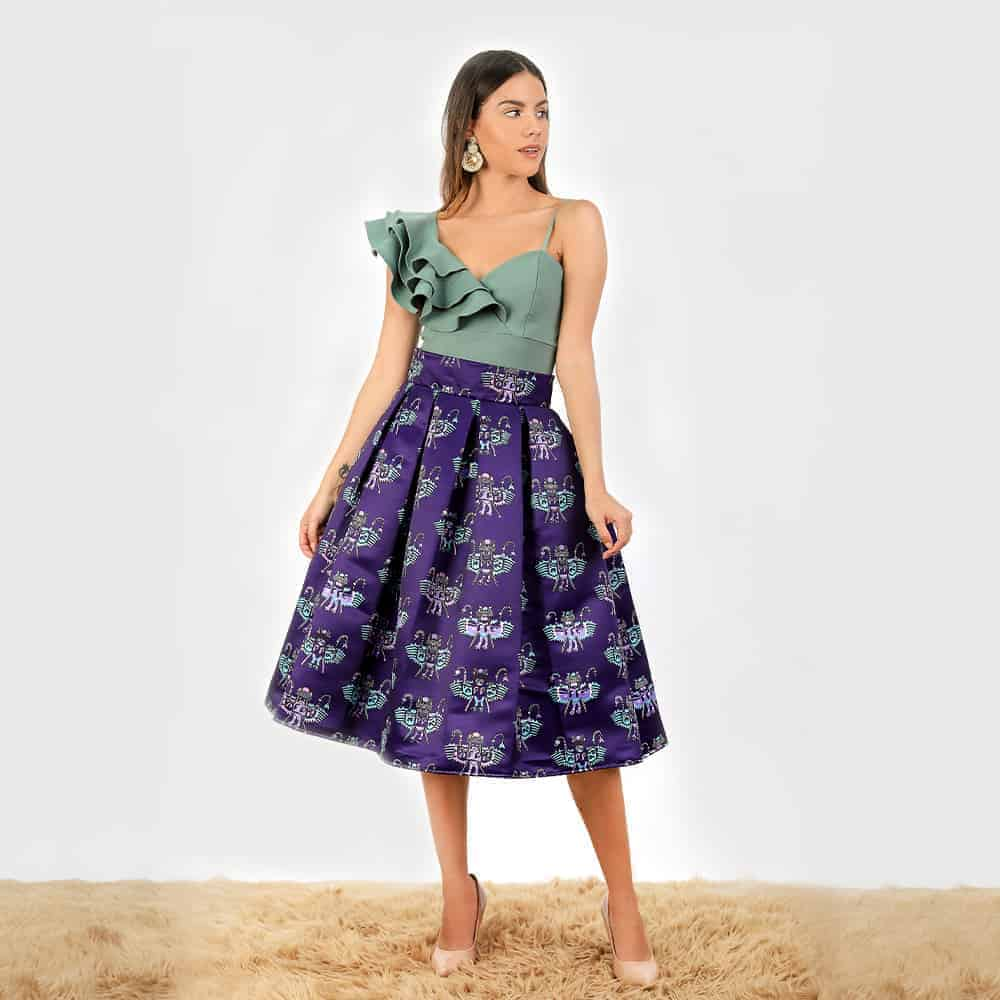 Paracas pleated midi skirt